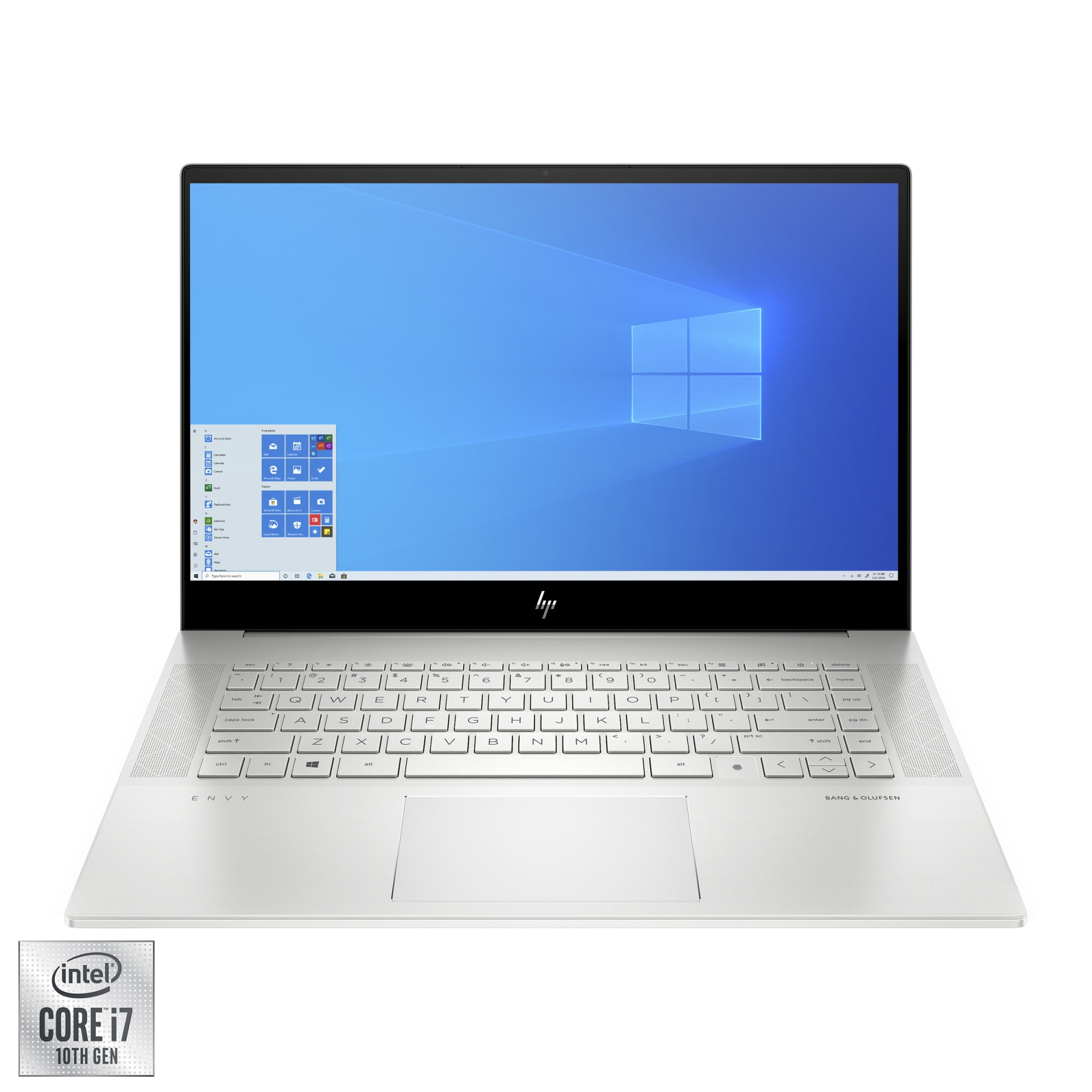 "Fotografie Laptop HP ENVY cu procesor Intel Core i7-10750H pana la 5.00 GHz, 15.6"", Full HD, 16GB, 512GB SSD, NVIDIA GeForce GTX 1660Ti 6GB Max-Q, Windows 10 Pro, Natural Silver"