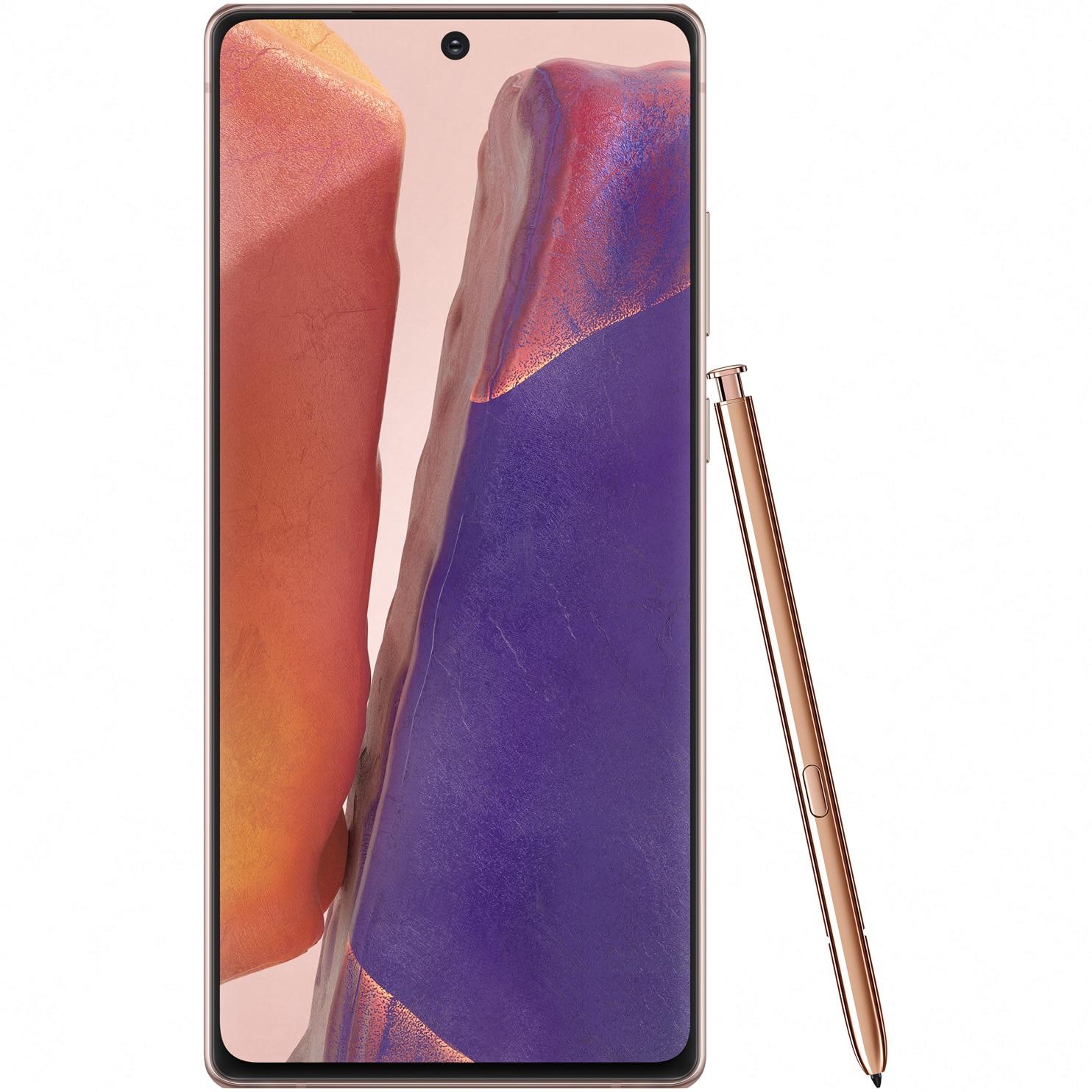 Fotografie Telefon mobil Samsung Galaxy Note 20, Dual SIM, 256GB, 8GB RAM, 5G, Mystic Bronze