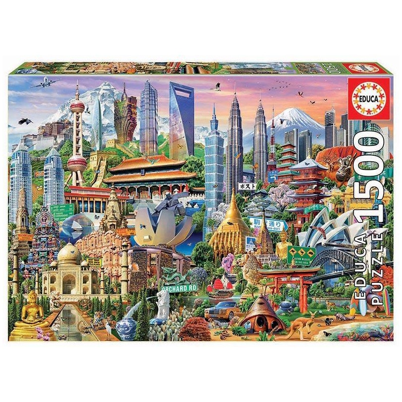Fotografie Puzzle Educa - Asia landmarks, 1500 piese