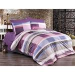 Спално бельо Terpe, Памук Ranforce Lux, Модел с лилави карирани линии, 1 човек, 70X70, 150X200, 4 части