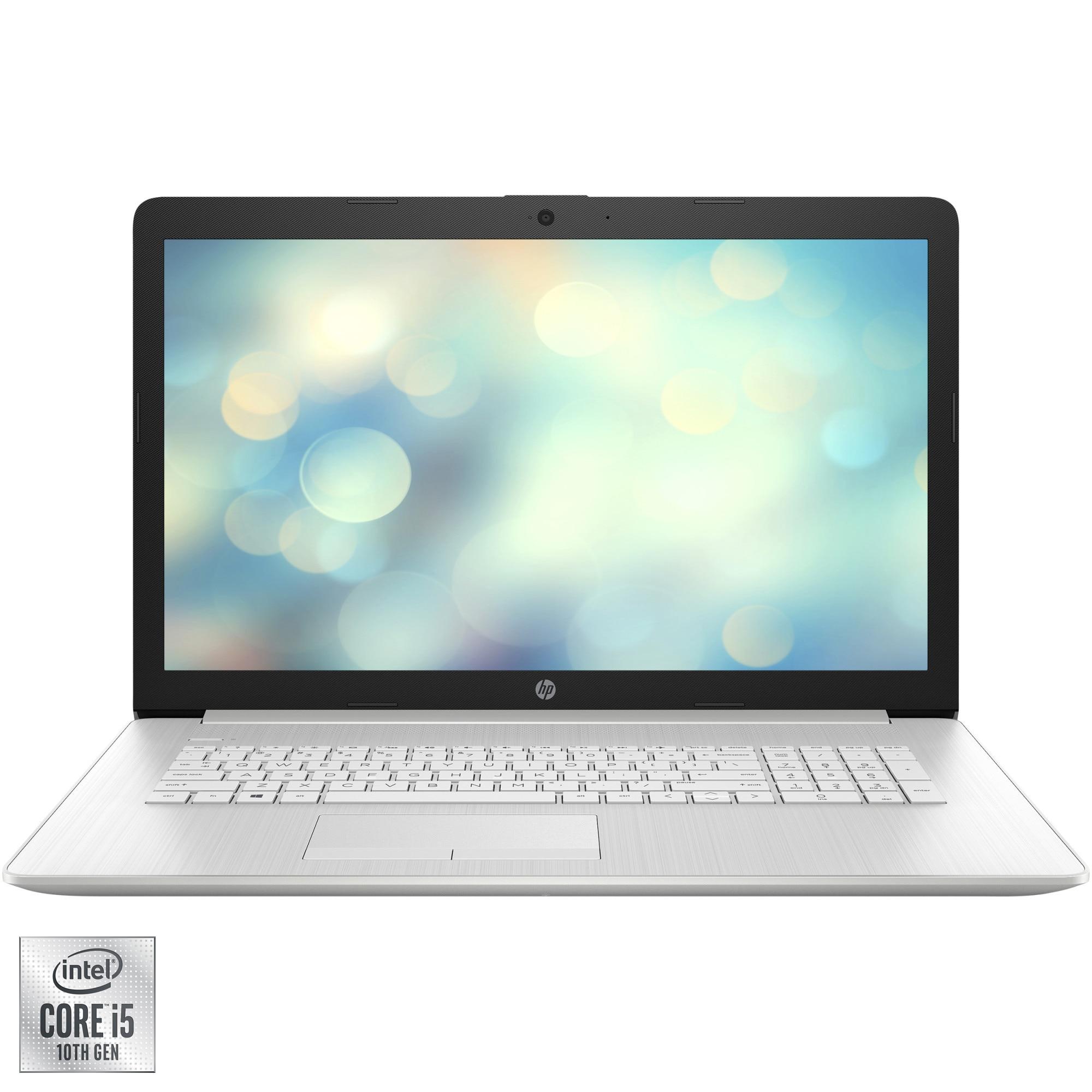 "Fotografie Laptop HP 17-by3017nq cu procesor Intel® Core™ i5-1035G1 pana la 3.60 GHz, 17.3"", Full HD, 16GB, 1TB HDD + 512GB SSD, Intel® UHD Graphics, Free DOS, Natural Silver"