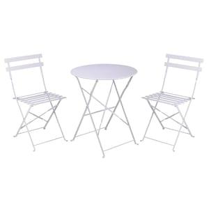 Set mobilier pentru gradina/terasa/curte Kynast, masa cu 2 scaune, metal, alb