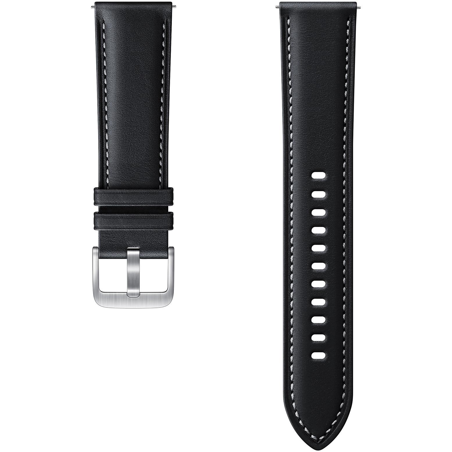 Fotografie Curea ceas smartwatch Samsung Galaxy Watch3, Stitch Leather, 22mm, M/L, Black