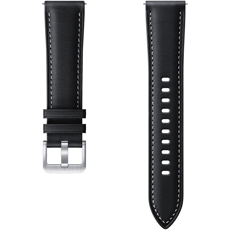 Fotografie Curea ceas smartwatch Samsung Galaxy Watch3, Stitch Leather, 20mm, S/M, Black