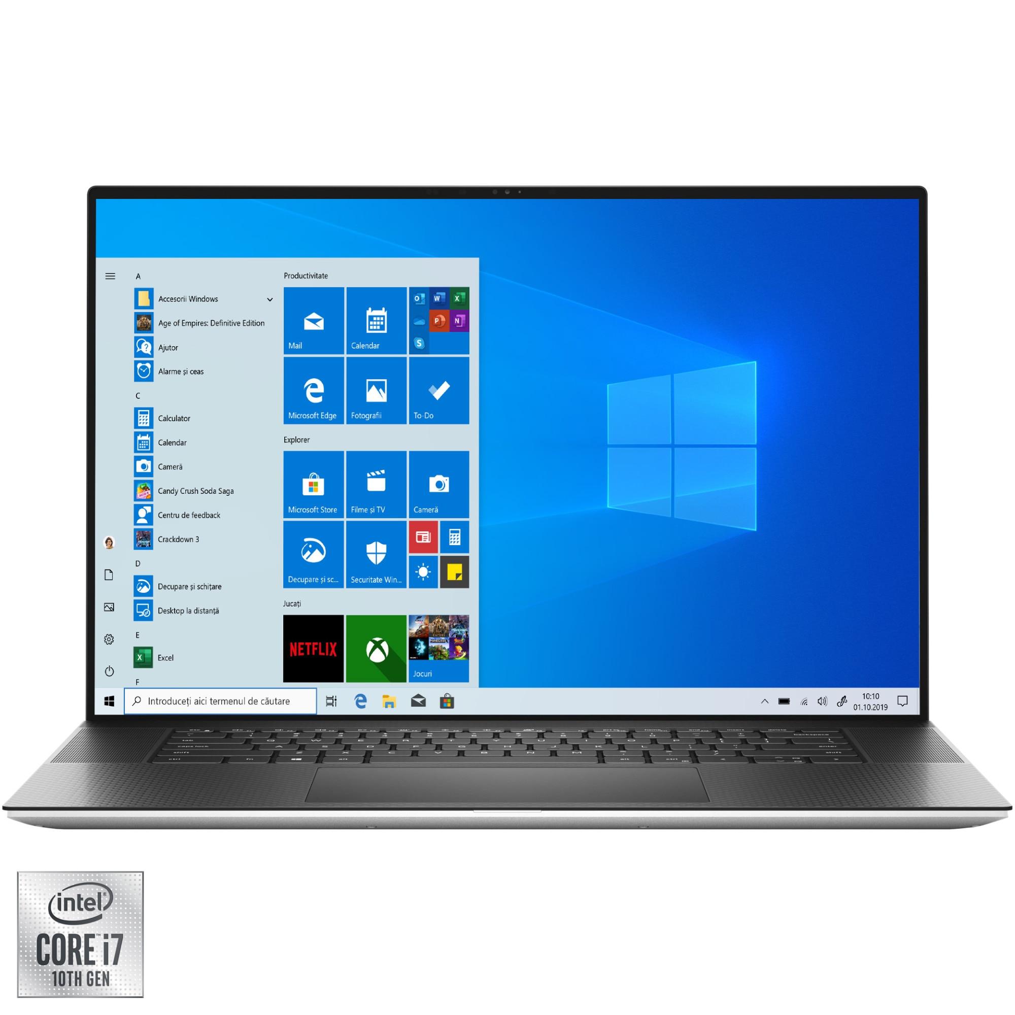 "Fotografie Laptop Dell XPS 17 9700 cu procesor Intel Core i7-10750H pana la 5.00 GHz, 17"", UHD+, Touch, 32GB, 2TB, NVIDIA GeForce GTX 1650 Ti 4GB, Windows 10 Pro, Platinum Silver"