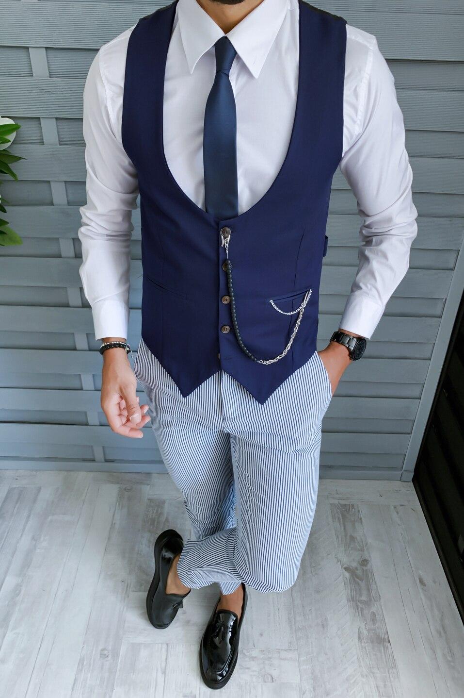 Costum pentru barbati, elegant, slim fit, sacou, vesta, pantaloni,  bleumarin, B1854 - eMAG.ro
