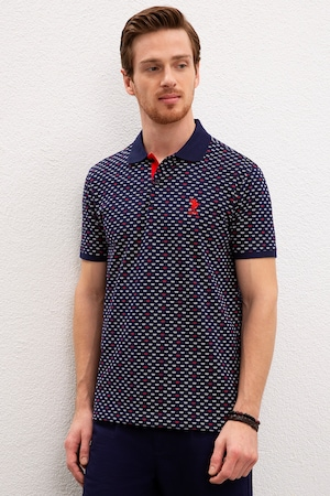 U.S. Polo Assn., Tricou polo slim fit cu model geometric, Bleumarin/Alb optic/Oranj, M