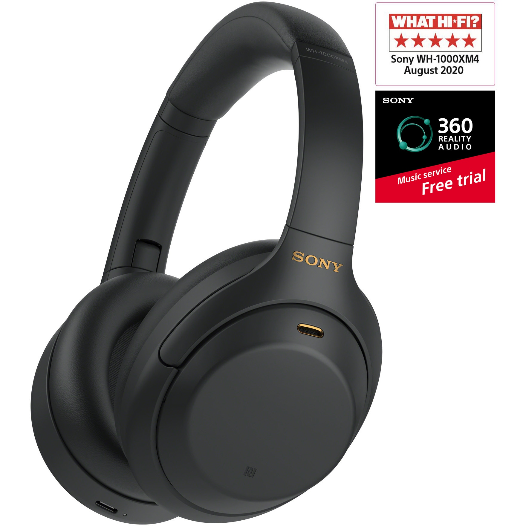 Fotografie Casti Over the Ear Sony WH1000XM4B, Wireless, Bluetooth, Noise cancelling, Negru