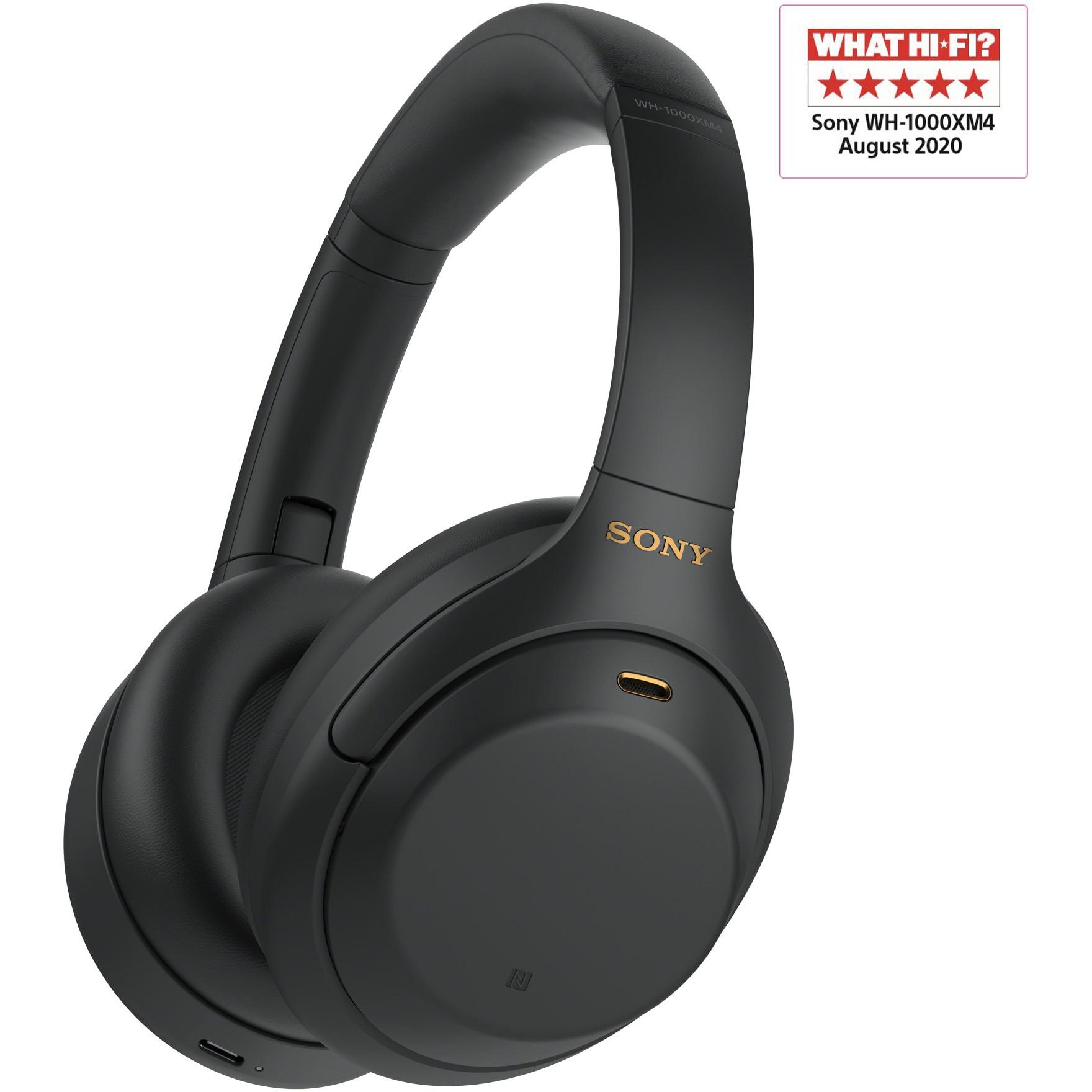 Fotografie Casti Sony WH-1000XM4, Noise canceling, 30 ore de autonomie, Alexa si Google Assistant, Negru