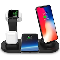 Statie de incarcare SIKS® Wireless Charger 3 in 1 Premium Fast Charge AirPod Apple Watch Negru compatibil cu iPhone 11/11Pro/Xs max/Xs/XR/X/8/8+, Galaxy S10/S10+/S9+/S9/Note9/Note8/S8/S7/S7/S6/Note 5,