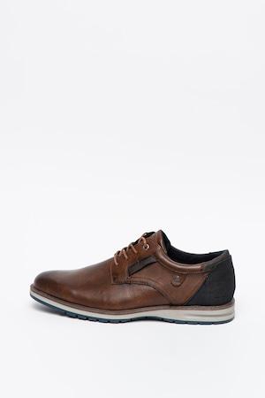Tom Tailor, Pantofi derby de piele ecologica, Maro coniac, 44