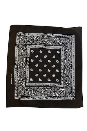 Esarfa tip bandana, cu imprimeu, bumbac, negru, 54 x 54 cm