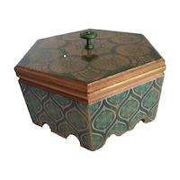 Kézzel készitett hatszögletű zöld marokkói stilusú diszdoboz