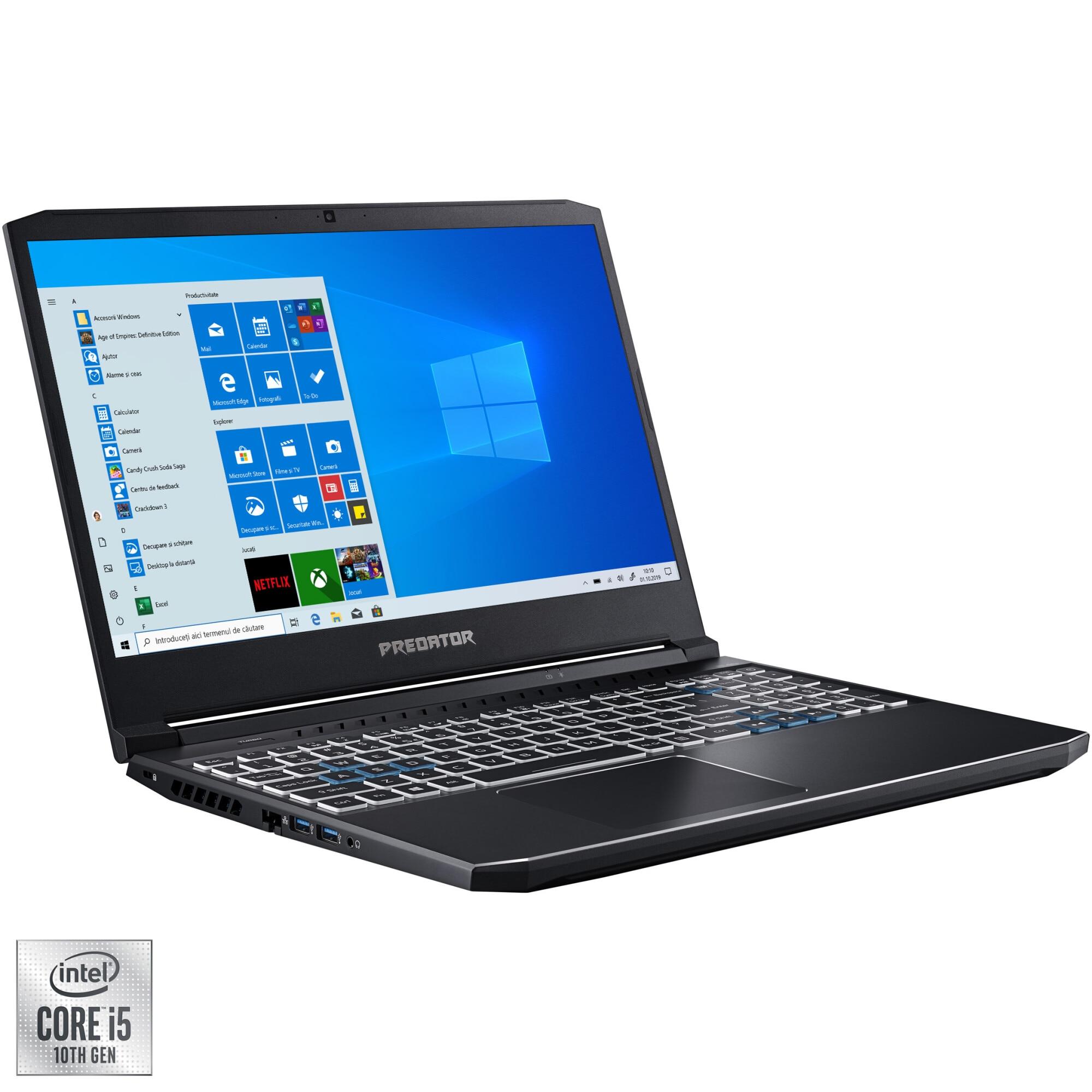 "Fotografie Laptop Gaming Acer Predator Helios 300 PH315-53 cu procesor Intel Core i5-10300H pana la 4.50 GHz, 15.6"", Full HD, 144Hz, 16GB, 256GB SSD, NVIDIA GeForce RTX2060 6GB, Windows 10 Home, Black"