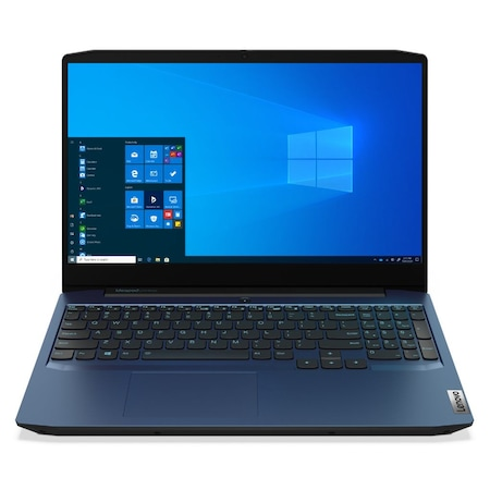 Лаптоп Lenovo IdeaPad Gaming 3 15IMH05 с Intel Core i7-10750H (2.6/5GHz, 12M), 16 GB, 512GB M.2 NVMe SSD, NVIDIA GTX 1650 4GB GDDR6, Windows 10 Pro 64-bit, син