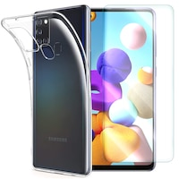 Силиконов калъф и стъклен протектор Slimset за Samsung Galaxy A21s, Прозрачен