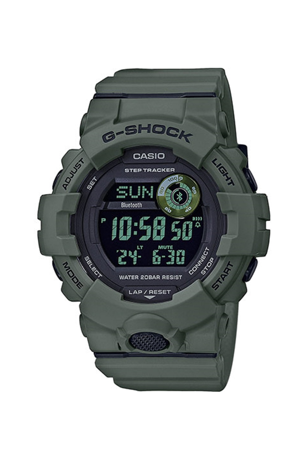 Fotografie Casio, Ceas digital cu functii multiple si pedometru G-Shock, Verde