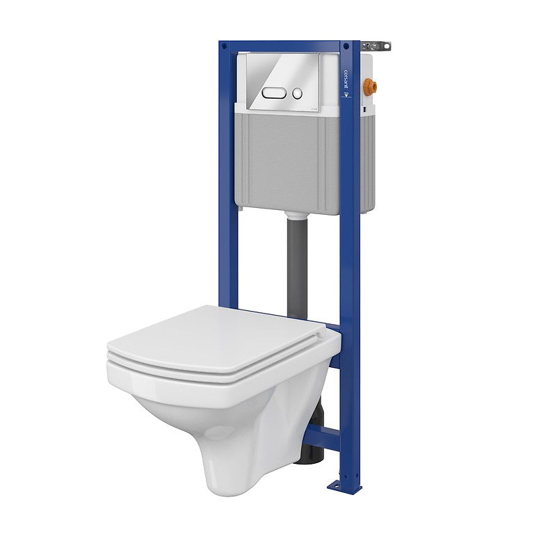 Fotografie Pachet vas WC Cersanit B137 System 21 Mech S701-346 + rezervor incastrat + capac + clapeta actionare