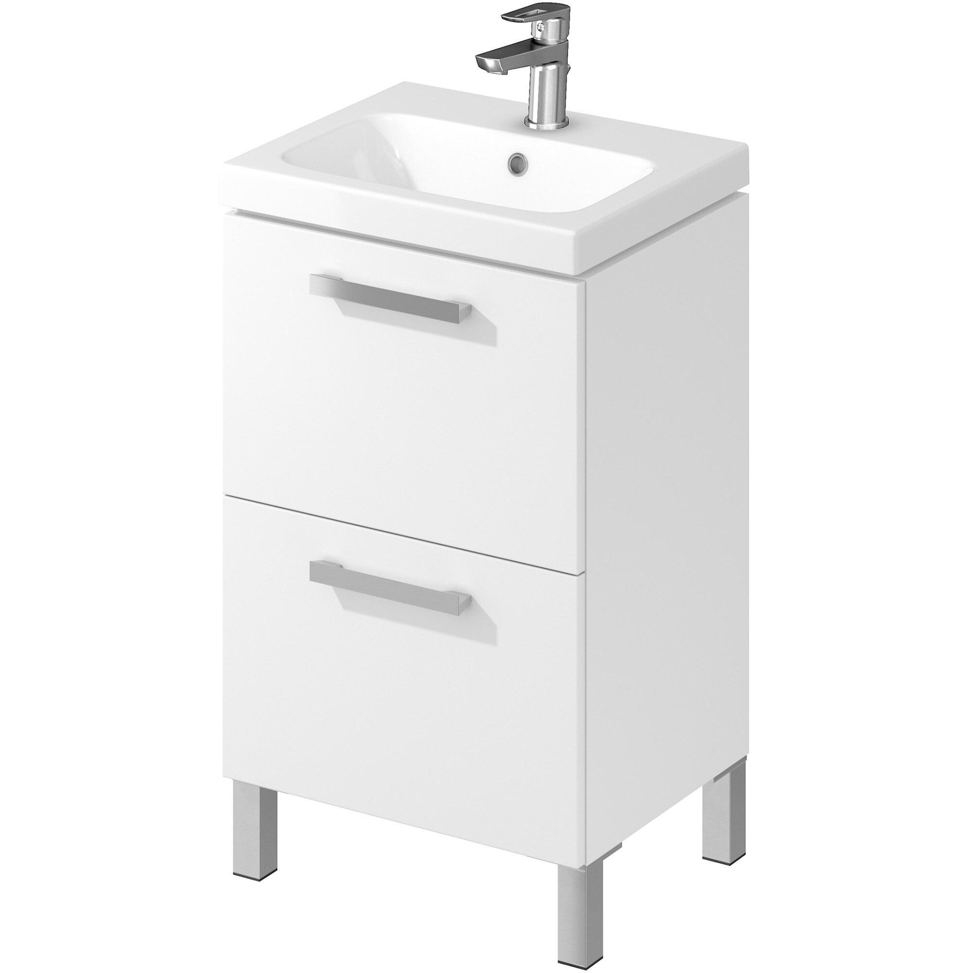 Fotografie Pachet baza mobilier Cersanit Melar RR801-006-DSM + lavoar, 50 cm, inchidere soft, 2 sertare, alb