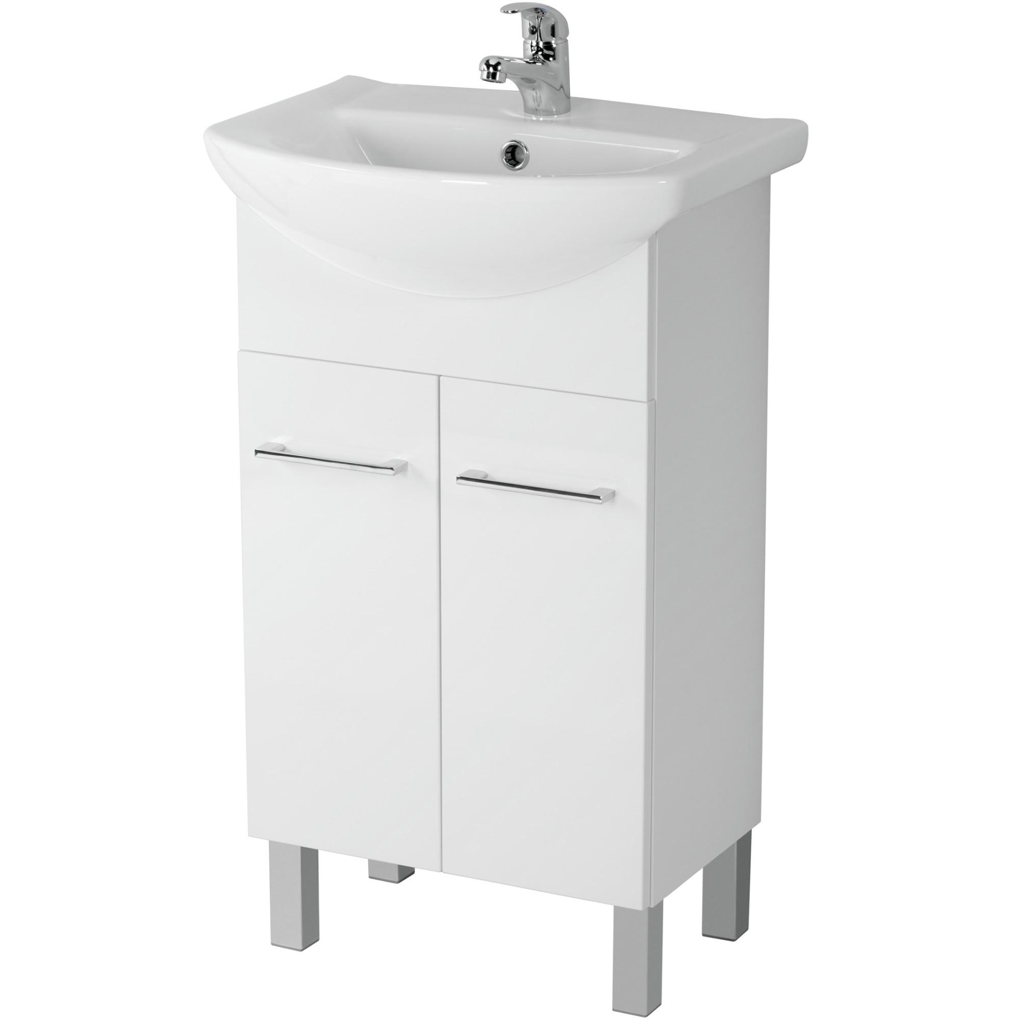 Fotografie Pachet baza mobilier Cersanit Olivia S801-194 + lavoar Libra, 50 cm, alb, montat