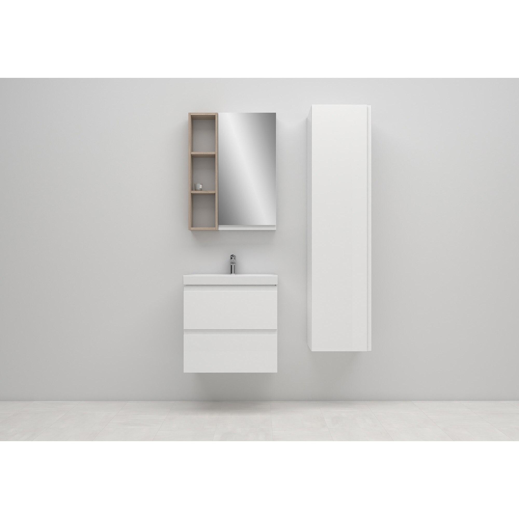 Fotografie Pachet Cersanit 981 MODUO SLIM S801-227-DSM, dulap, 2 sertare, inchidere lenta, manere ascunse + lavoar, 59.5 x 37.5 x 57 cm
