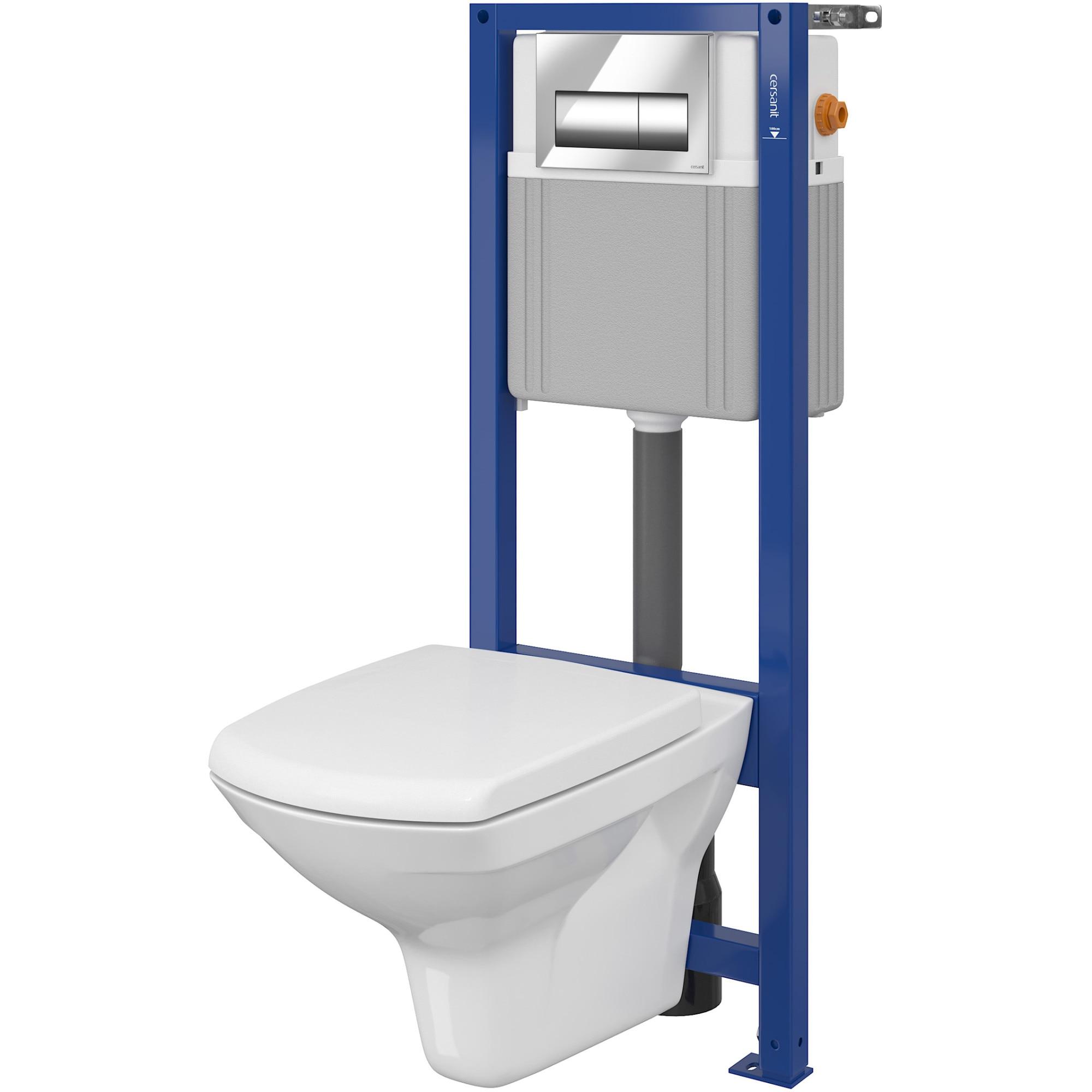 Fotografie Pachet vas WC suspendat Cersanit S701-063 Carina + sistem mecanic, capac WC Duroplast, inchidere lenta, demontare rapida
