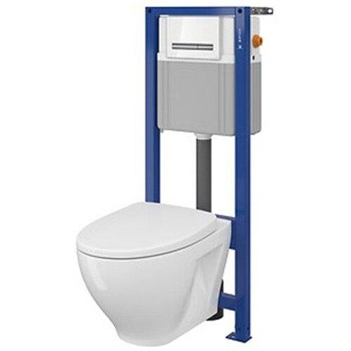 Fotografie Pachet Cersanit System 21 Mech S701-302, rezervor incastrat + vas WC + capac + clapeta actionare