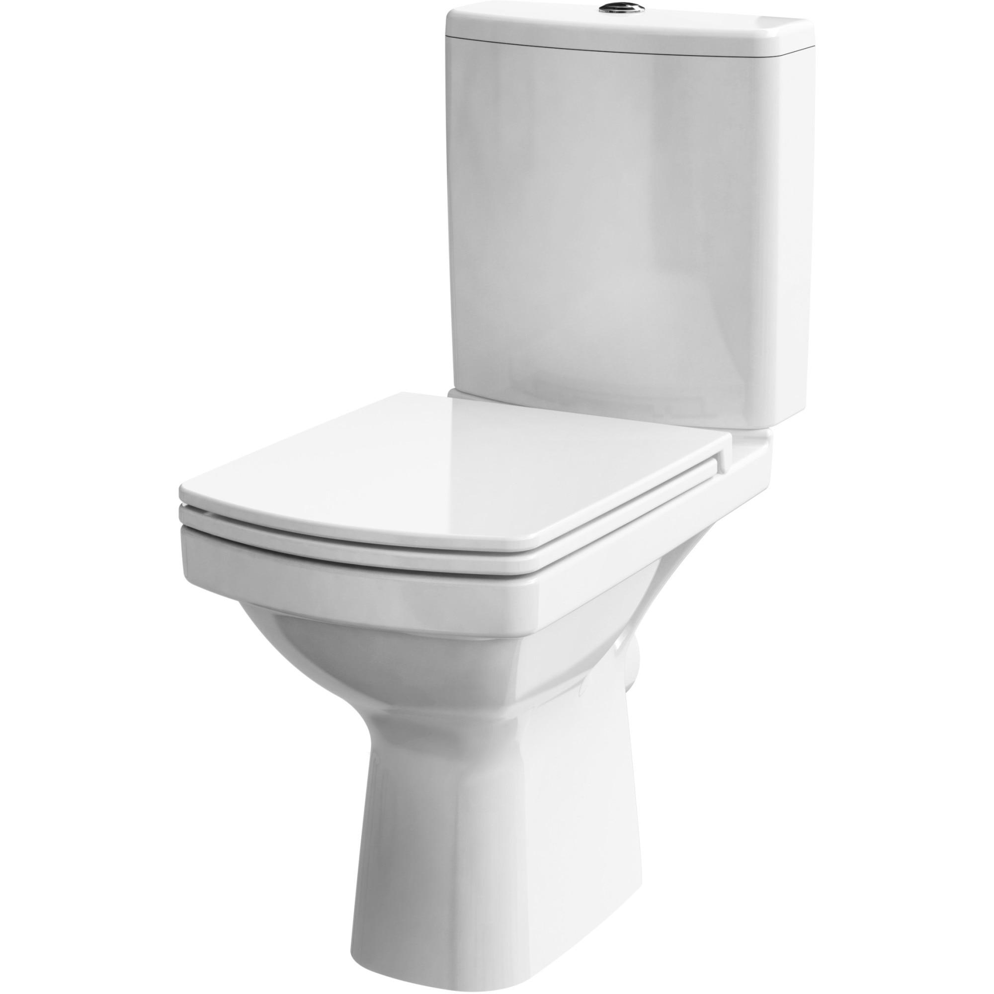 Fotografie Pachet Cesanit K102-028, vas WC compact, Clean On + rezervor + capac WC Duroplast, antibacterial, inchidere lenta