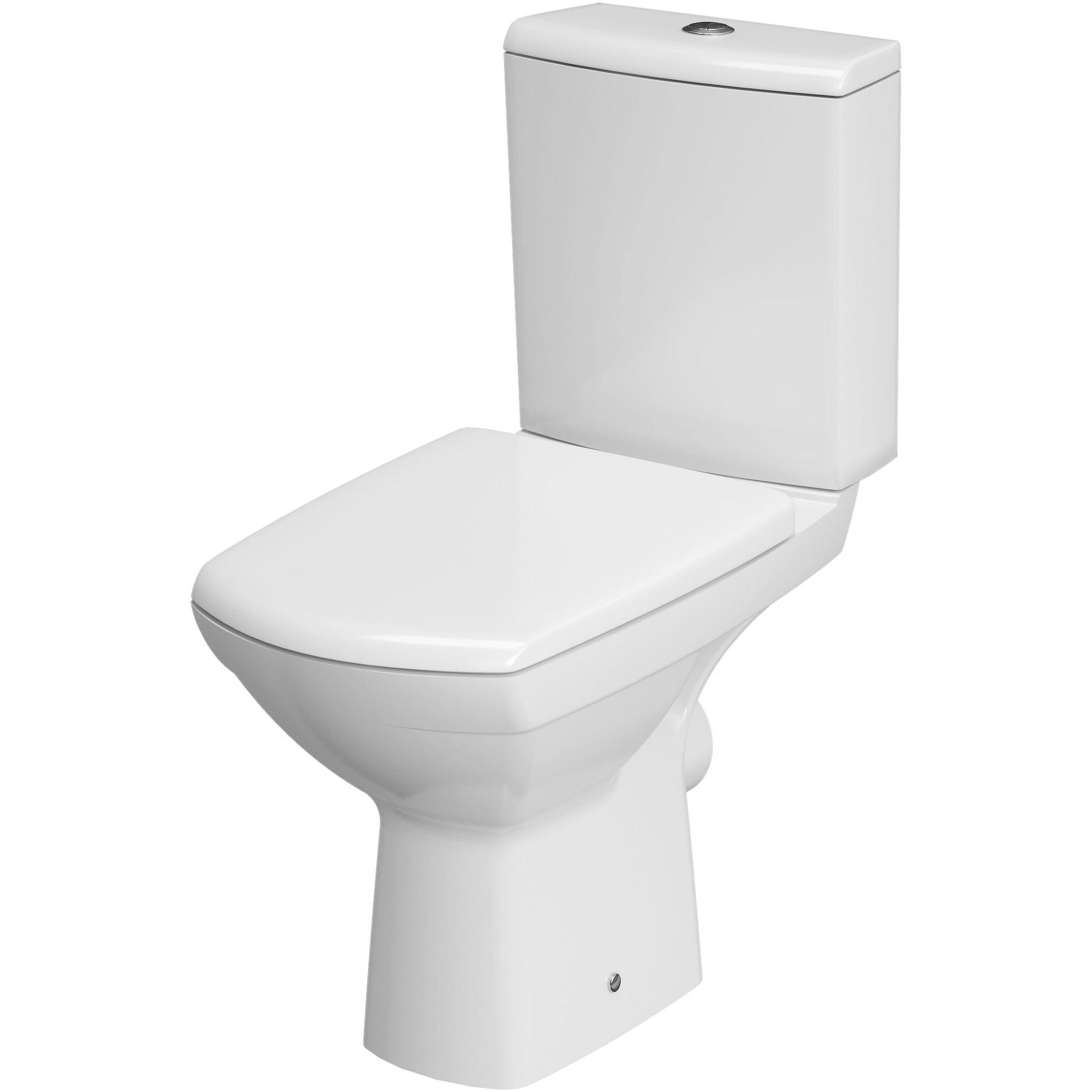 Fotografie Pachet vas WC Cersanit RR100-001 643 Viva + rezervor, Clean On, evacuare orizontala, capac WC Duroplast, inchidere lenta, demontare rapida