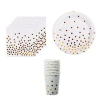 Set accesorii petrecere ,Party Dots, 10 farfurii de 22 cm ,10 pahare cu capacitatea de 200 ml , 20 de servetele de 33 x33 cm , Alb