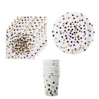 Set accesorii petrecere ,Party Dots And Stars, 10 farfurii de 22 cm ,10 pahare cu capacitatea de 200 ml , 20 de servetele de 33 x33 cm , Alb-Negru-Auriu