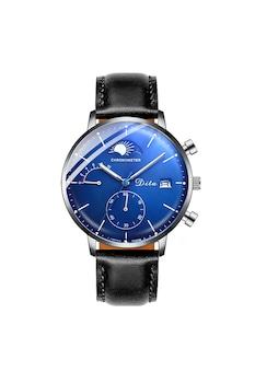 DitaWatch Férfi karóra, P Series Blue Edition, bőr, fekete
