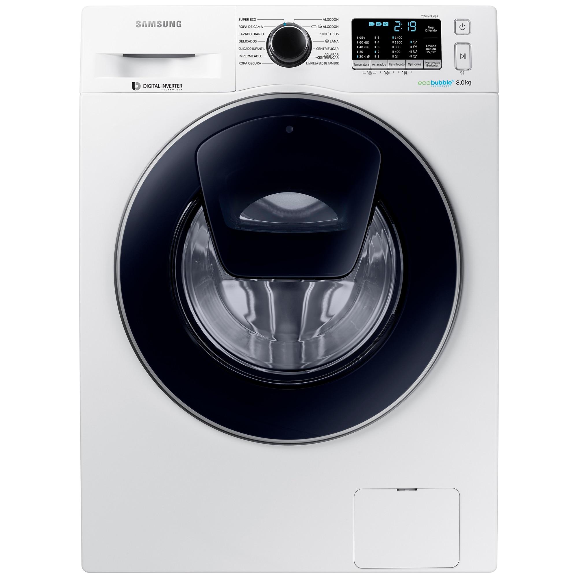 Fotografie Masina de spalat rufe Samsung AddWash WW80K5410UW/LE, 8 kg, 1400 RPM, Clasa A+++, Motor Digital Inverter, EcoBubble, Alb