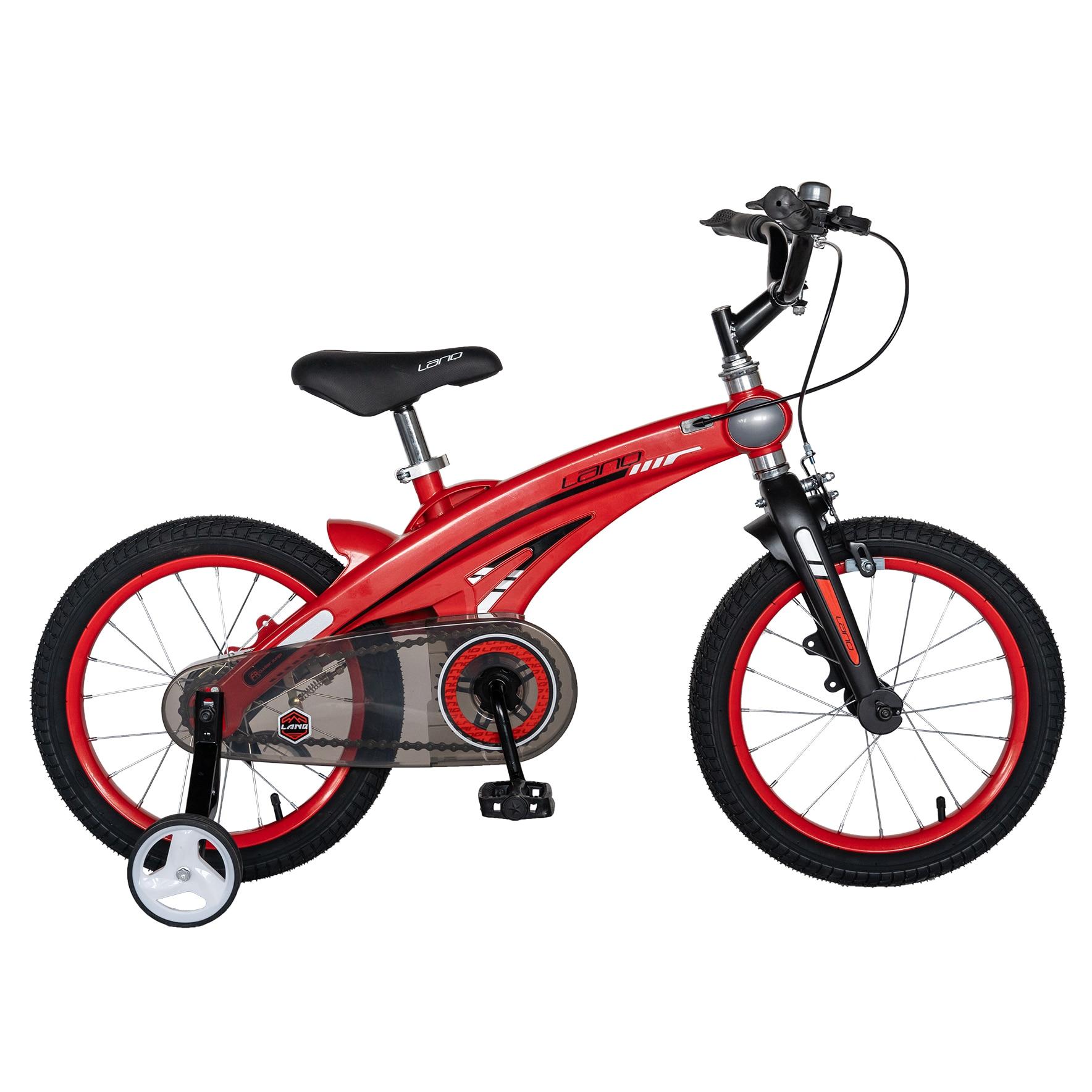 """Fotografie Bicicleta copii Lanq W1639D, roata 16"""", cadru aliaj magneziu, frana C-Brake, roti ajutatoare, 4-6 ani, rosu/negru"""