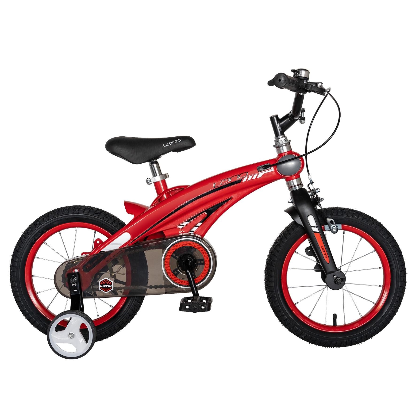 """Fotografie Bicicleta copii Lanq W1439D, roata 14"""", cadru aliaj magneziu, frana C-Brake, roti ajutatoare, 3-5 ani, rosu/negru"""