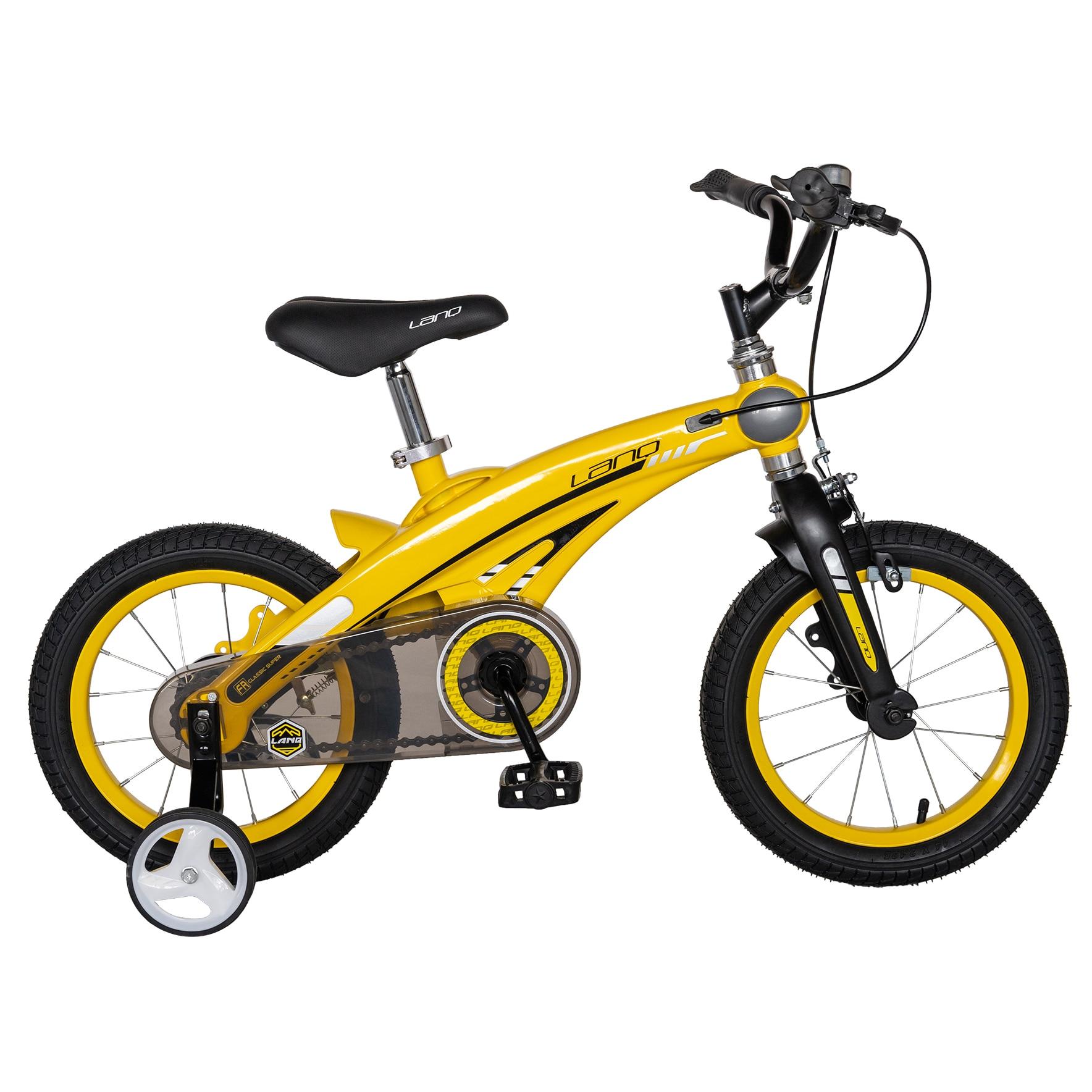 "Fotografie Bicicleta copii Lanq W1439D, roata 14"", cadru aliaj magneziu, frana C-Brake, roti ajutatoare, 3-5 ani, galben/negru"