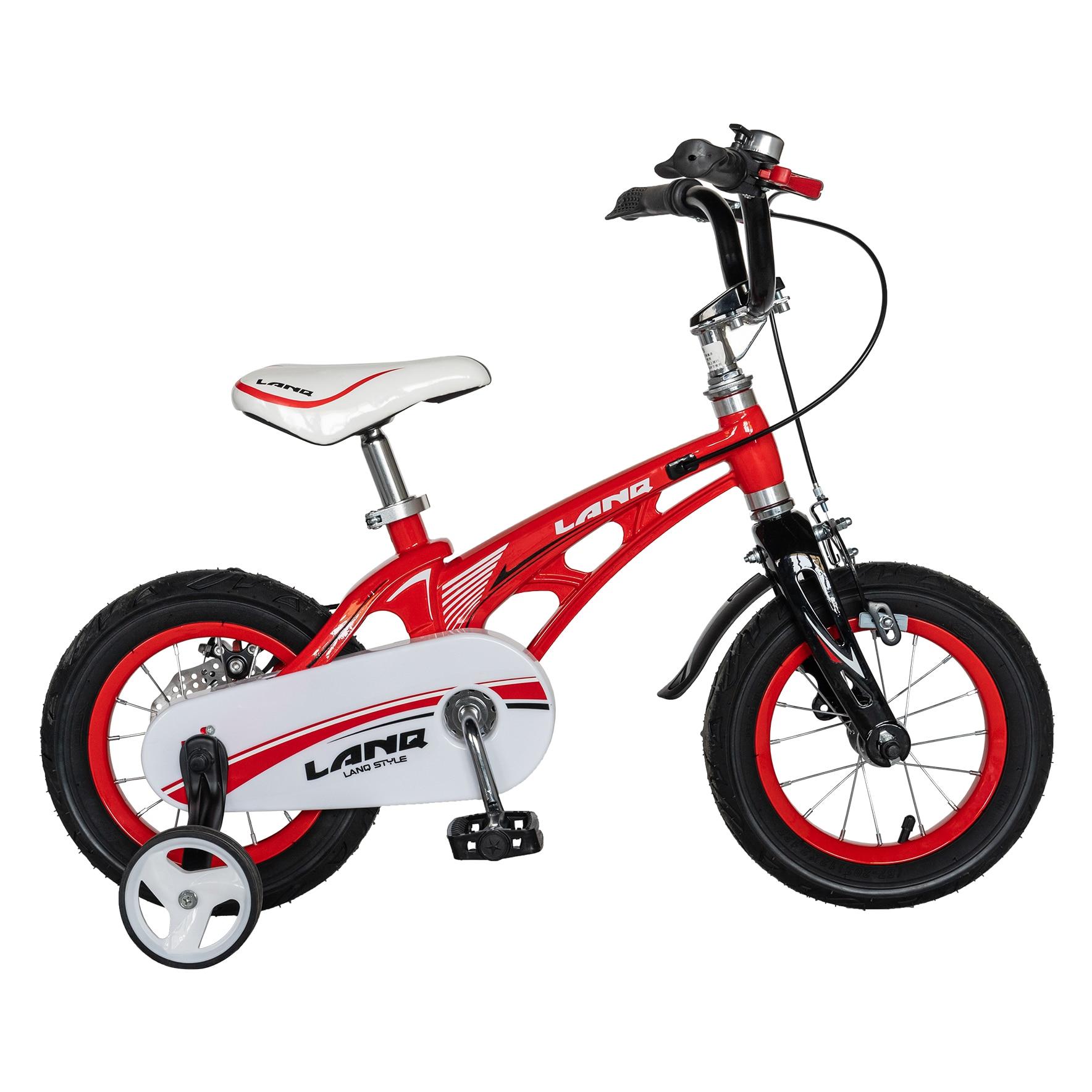 """Fotografie Bicicleta copii Lanq W1246D, roata 12"""", cadru aliaj magneziu, frana C-Brake, roti ajutatoare, 2-4 ani, rosu/negru"""