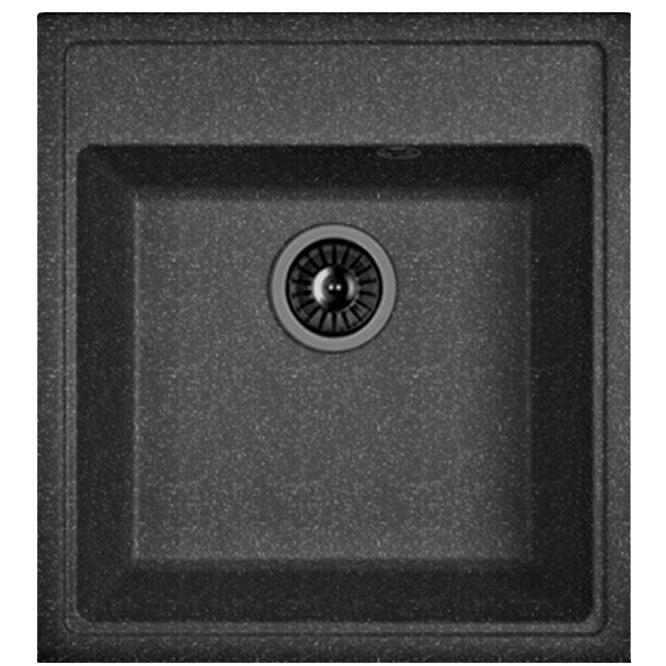 Fotografie Chiuveta bucatarie DR.GANS Nika 470, compozit granit, 470x510mm, adancime cuva 200mm, negru