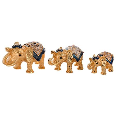 Декоративни сувенири, Комплект слончета, Бижутерки, Метални с камъчета, Многоцветно, 3 броя