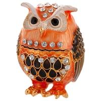 Декоративен сувенир, Сова, Бижутерка, Метална с камъчета, Многоцветен