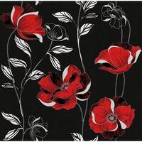 Tapéta DEGRETS 1270 Papír, Essays fekete-piros, Méret: 0.53m x 10.05m = 5.3 m2