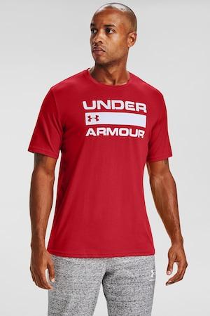 Under Armour, Tricou pentru fitness Team Issue Wordmark, Rosu/Alb, XL