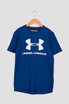 Under Armour, Фитнес тениска със свободна кройка и лого, Син, 5-6Y