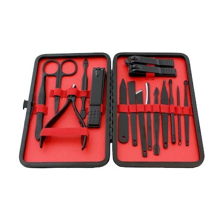 Palmonix manikűr- és pedikűrkészlet, 16 kiegészítő, rozsdamentes acél, fekete / piros szín
