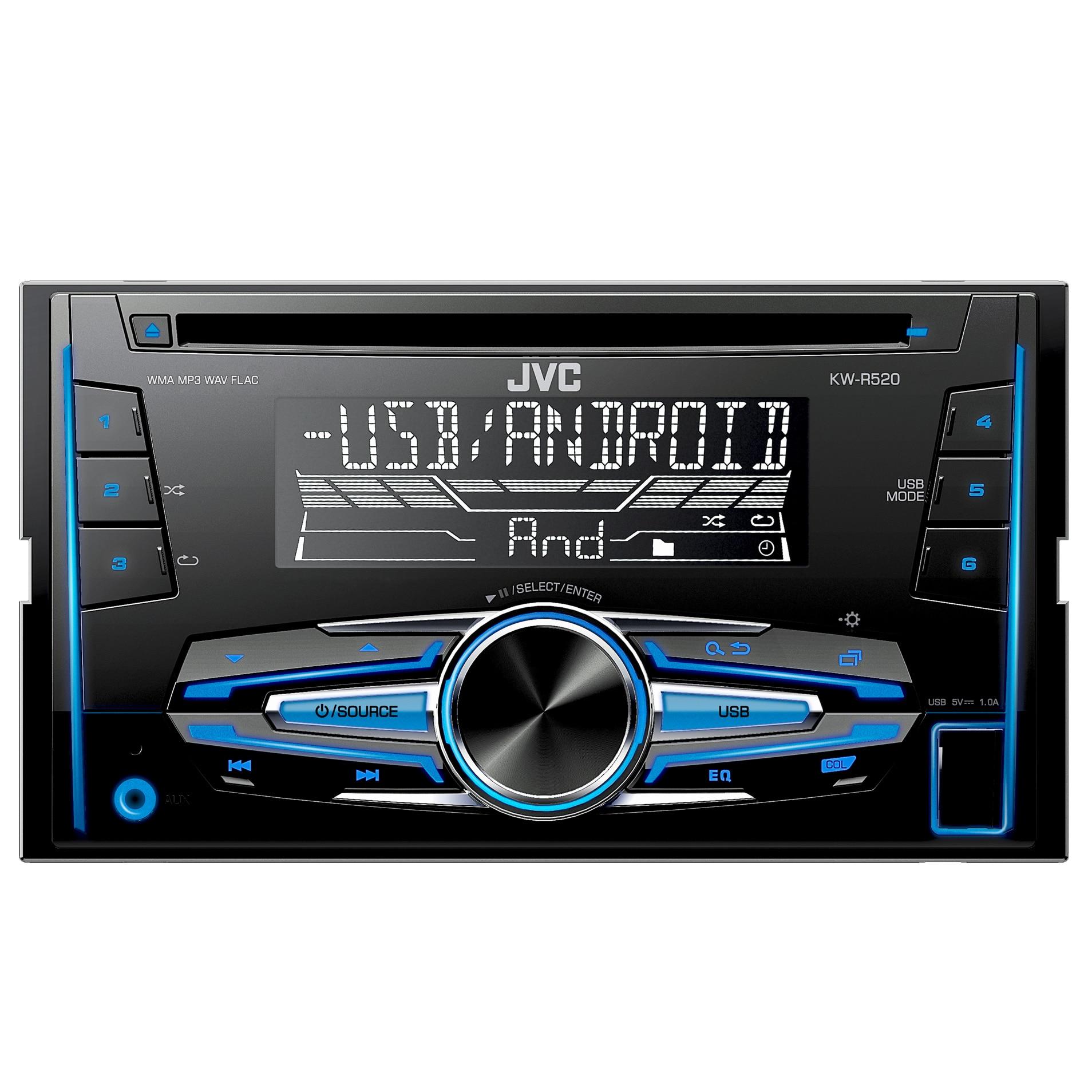 Fotografie Radio CD auto JVC KW-R520 , 4x50W, USB, AUX, subwoofer control, 2DIN, iluminare alb