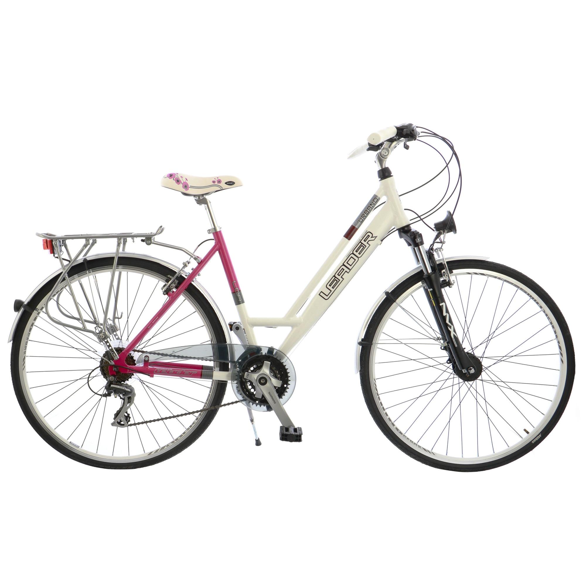 "Fotografie Bicicleta City 28"" Leader Urbano transmisie Shimano, furca Suntour NCX, cadru AL, 48cm, White/Pink"