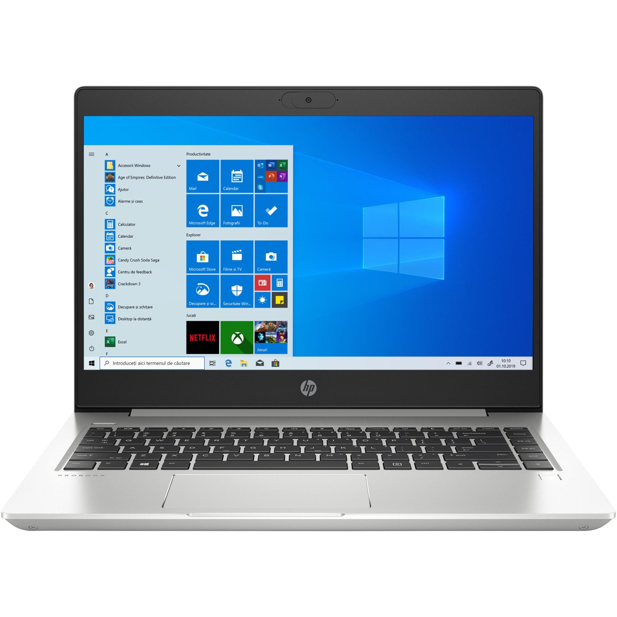 "Fotografie Laptop ultraportabil HP ProBook 445 G7 cu procesor AMD Ryzen™ 5 4500U pana la 4.00 GHz, 14"", Full HD, 8GB, 1TB HDD+ 256GB SSD, AMD Radeon™ Graphics, Windows 10 Pro, Pike silver"