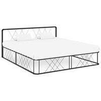 vidaXL fekete rácsos fém ágykeret ágyráccsal 200 x 180 x 80,5 cm