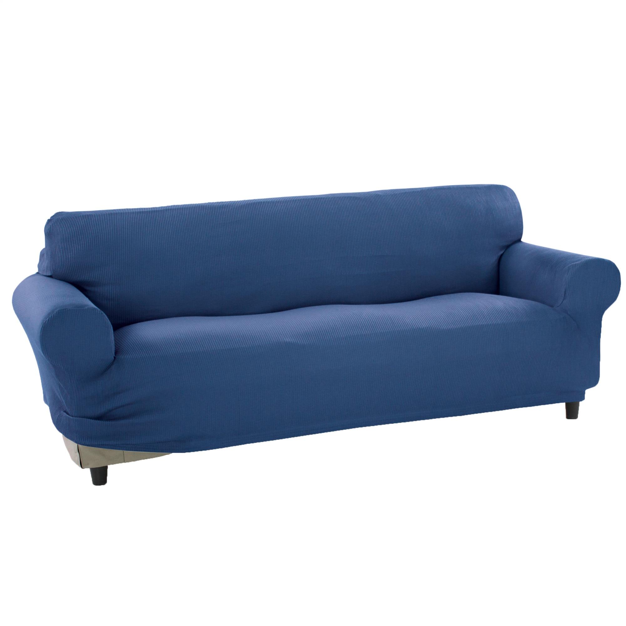 Fotografie Husa elastica pentru canapea 3 locuri Kring Nairobi, intre 180-220 cm, 60% bumbac+ 35% poliester + 5% elastan, Albastru