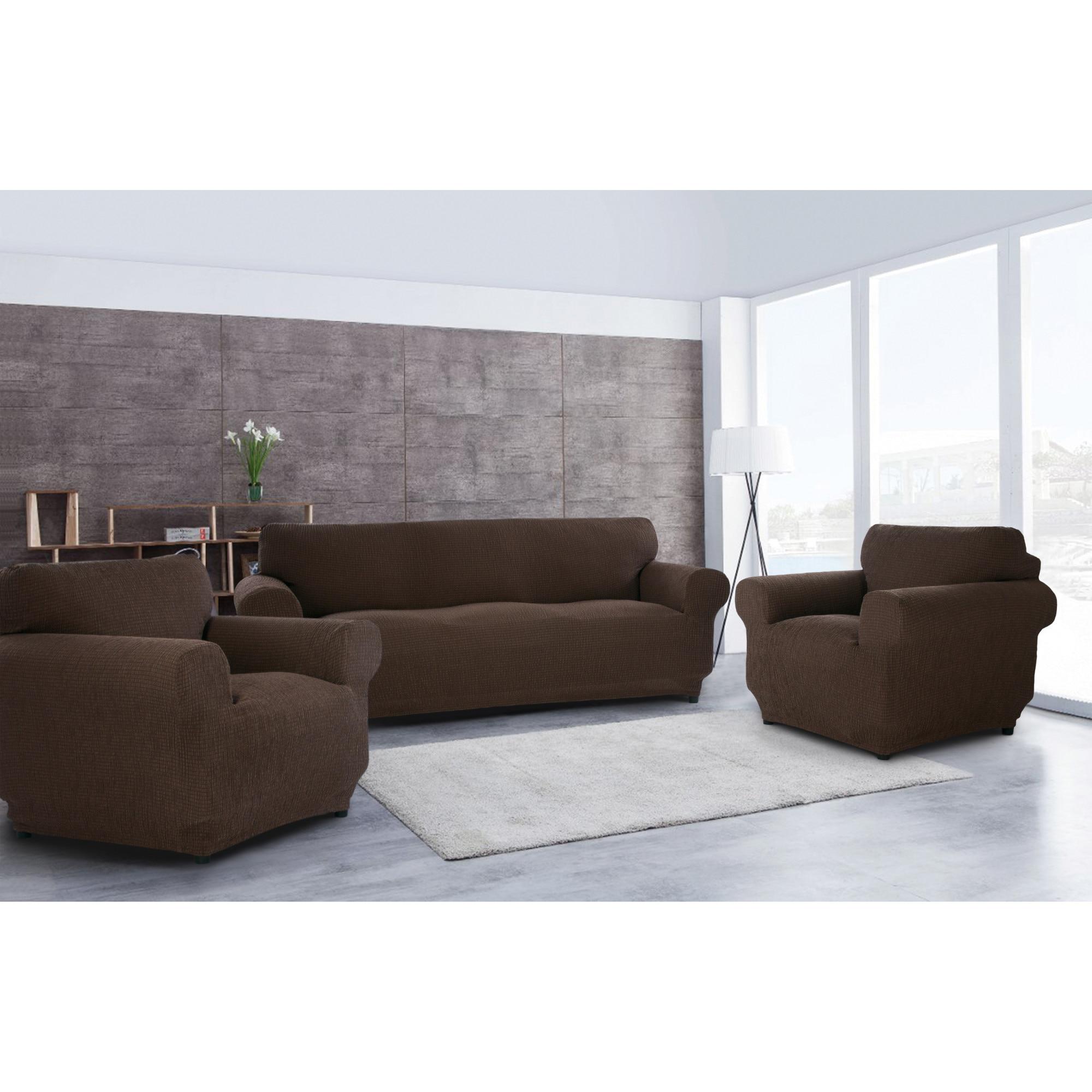Fotografie Set huse elastice pentru canapea 3 locuri si 2 fotolii Kring Nairobi, 60% bumbac+ 35% poliester + 5% elastan, Cappuccino